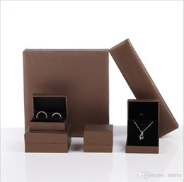 free display cases 2019 - leatherette paper jewelry packaging & display ring box brown jewellry box Bracelet necklace holder case for jewelry exhi