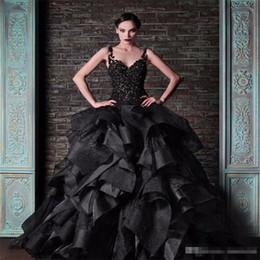 $enCountryForm.capitalKeyWord NZ - Rami Kadi Black Ball Gown Prom Dresses Spaghetti Straps Vintage Lace Ruffles Satin Puffy Gothic Formal Party Gowns Dress Evening Wear