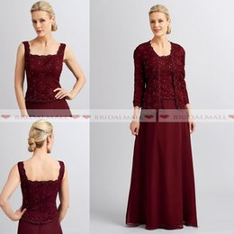 Beaded jackets women online shopping - Elegant Burgundy Chiffon Mother of the Bride Dresses with Jacket Beaded Lace Formal Dress Women Outfit Plus Size Evening Party Gowns