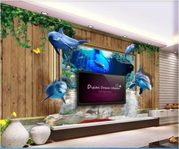 house vine UK - 3d wallpaper custom photo mural Wooden wall vines flowing water wealth dolphins underwater world 3D background home decor wall art pictures
