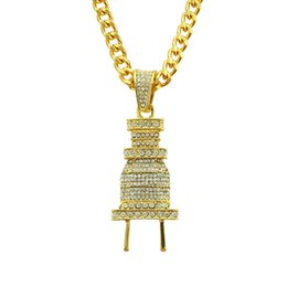 Plugs Jewelry UK - Halloween Pendant Hip-hop Rap Fully-jewelled Plug Pendeloque Cut Man Necklace Exaggeration Pendant Ornaments Designer Ringe Hip Hop Jewelry