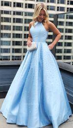 $enCountryForm.capitalKeyWord Australia - Light Blue Pearls Prom Dress 2019 Major Beading Halter Zipper Back Floor Length Party Evening Formal Gowns Vestido De Fiesta Customized