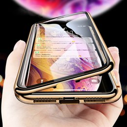 $enCountryForm.capitalKeyWord NZ - Fashion Metal Magnetic Adsorption Case For iPhone XS MAX X XR 8 7 Plus 6 6s Case Double Sided Glass Magnet Case Cover 7Plus Funda