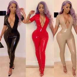 48ac37140f0 Skinny V-neck Latex Costume Catsuit Red Night Club Catsuit Sexy Bodysuit  Wet Look Faux Leather Jumpsuit