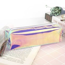 Cool Stationery Australia - Fashion Pvc Pencil Bag School Pencil Box Supplies Student Gift Cool Transparent Glitter Case Stationery Bags