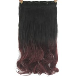 $enCountryForm.capitalKeyWord UK - 60cm Long Curly Black To Wine Ombre Hair High Tempreture Fabric Synthetic Hair Piece Women Clip On Hair
