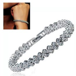 Silver Tennis Australia - luxury designer jewelry women bracelets plated sterling silver round luxury crystal cut cubic zirconia tennis bracelet