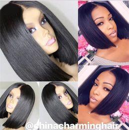 Hair Black Bob Silky Australia - Short Bob Wigs Black Wig for Women Peruvian Virgin Human Hair Wig With Baby Hair 13x6 Silky Straight Hair Short Wig