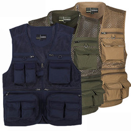 pockets photography vest Australia - Men Outdoor Multi-Pocket Vest Waistcoat Photography Zip Mesh Sleeveless Size Plus 2018 New V-Neck Loose Multi-Pocket Vest