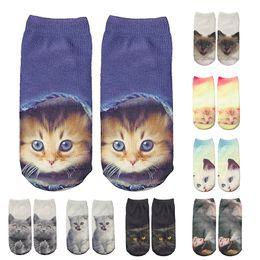 Funny Christmas Socks Canada - iMucci Fashion Cat Socks Women Funny Socks New 3D Printing Women Fashion Unisex Christmas Sock Low Ankle Sock