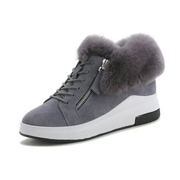 SneakerS Shoe for femaleS online shopping - Women s Snow Boots Winter Genuine Leather Ankle Boots For Woman Warm Plush Winter Shoes Hidden Heel Female Sneakers Boot