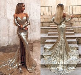 a6727f0419bd Sparkly Mermaid Prom Dresses Off Shoulder Long Sleeves Sequined Sweep Train  High Side Split Sexy Formal Dresses Evening Party