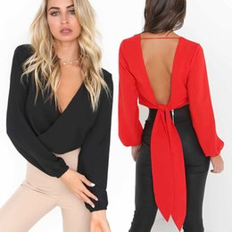 4494b9d39a0699 Women s Tops T-ShirtSummer Hot Style Sexy V-neck Open-back T-shirt Bowknot  Nightclub Blouse Lady Red White Black