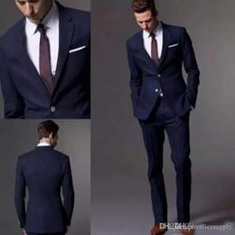 Navy Suit Fashion Australia - Groom Costume Custom Made Dark Navy Blue Black Men Suit 2019 Fashion Groom Suit Wedding Suits For Men Slim Fit Groom Tuxedos (Jacket+Pants)
