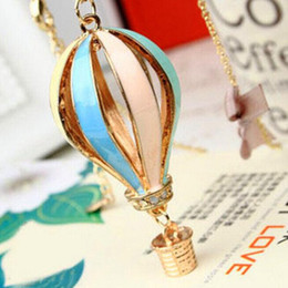 Long air baLLoons online shopping - Necklaces Pendant Beautifully drip hot air balloon Pendant Gold Plated Chain Sweaterchain Necklace Gold Plated Long Chain Pendant Necklace