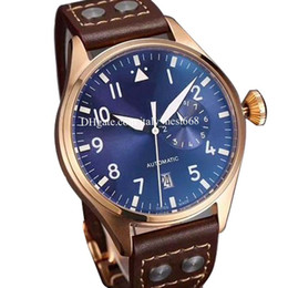 China LUXURY heuer watch High Quality Men Large Pilot 500401 Black  Blue Dial Leather strap Movement Automatic Mens Watch Men's Watches 2019 NEW cheap pilot watch dial suppliers