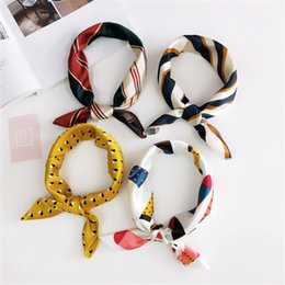 small scarves for women wholesale Canada - Hair Tie Band For Business Party Women Elegant Square Scarf Small Vintage Skinny Retro Head Neck Silk Satin Scarf