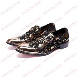 Pointed Style Shoes For Men Australia - 2019 New Style men business print flowers dress shoes Buckle pointed toe carved Bullock oxford for men party office shoes