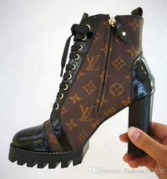 Großhandel Branded Frauen Leder Laureate 5 cm Plattform Desert Boot Designer Chunky Ankle Canvas Stiefel Box Verpackung Größe EU35-41