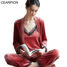 Women Velvet Clothes Australia - CEARPION Hot Sale Women Pajamas Suit Velvet Long Sleeve Sleepwear Solid Lace Trim 3PCS Nightie+Shirt+Pant Casual Home Clothes