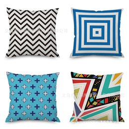 $enCountryForm.capitalKeyWord NZ - Modern Blue And White Porcelain Geometry Flax Embrace Pillow Case Imitate Mabaozhen Automobile Sofa Back Cushion Cushion Pillow Factory