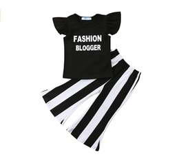 $enCountryForm.capitalKeyWord UK - 2019 New Baby Girls Summer Outfits Fashion Kids Clothing Sets Children Letter Printed T-shirt + Stripe bell-bottom trousers 2pcs Suits Y2251