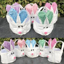 9fd3510e97c2 Easter Bunny Baskets Cartoon Cute Rabbit Long Ears Handbags Bunny Plaid  Printed Storage Bag Easter Kids Gift Bag