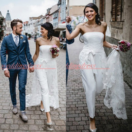 Jumpsuits for beach online shopping - Lace Strapless Outdoor Beach Wedding Dresses With Overskirt Jumpsuit Country Garden Bridal Gowns robe de mariée For Bride