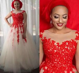 $enCountryForm.capitalKeyWord Australia - Red African Wedding Dresses Tulle Appliques Country Wedding Gowns Scoop Puffy Plus Size Garden Beach Bridal Dresses Vintage Wedding Dress