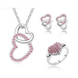 austrian crystal diamond jewelry set UK - 2015 New Fashion Jewelry Sets Accessories Heart Necklaces Earrings Ring with FULL Austrian Crystal Rhinestone For Woman Jewelry