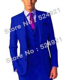 Dark Green Tie Grey Suit Australia - New Style Groom Tuxedos Royal Blue Groomsmen Side Vent Best Man Suit Wedding Men Suits Bridegroom (Jacket+Pants+Tie+Vest) A2