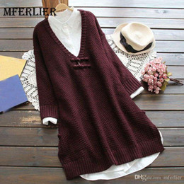ecf08e7c423 Mferlier Mori Girl Autumn Winter Artsy Sweater Dress Plate Buckle V Neck  Long Sleeve Split Hem Wine Red Retro Dress