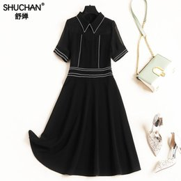 5a39e7b7853 Shuchan Black Designer Women Dresses 2019 High Quality Preppy Style Short  Sleeve Summer Dresses To Knee-length Peter Pan Collar