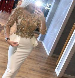 $enCountryForm.capitalKeyWord NZ - Evening dress Column Scoop Long Sleeve Ployester Beaded White Classic Customizable in any size Modern 1 Customizable