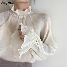 $enCountryForm.capitalKeyWord NZ - Neploe Korean Vintage Fashion Blouse Spring Newly Stand Collar Women Shirts Puff Sleeve Patchwork Pleated Blusas 67036 Q190507