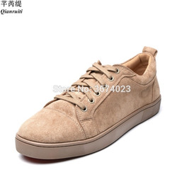 Green Plastic Army Men Australia - Qianruiti Chaussures Hommes Plus Size 39-47 Men Beige Army Green Suede Shoes Round toe Flat Low Top Sneakers Casual Shoes Men #356401
