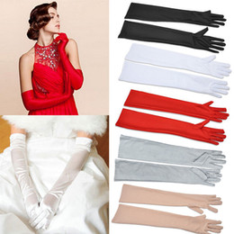 Wholesale 50cm Satin Long Finger Elbow Sun Protection Gloves Opera Evening Party Prom Costume Fashion Gloves Black Red White Grey Women