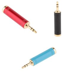 6.35mm stereo jack Australia - 3Pcs 6.35mm Stereo Plug to 3.5mm Stereo Jack Adaptor, 6.35mm Female to 3.5mm Male, Gold Plated