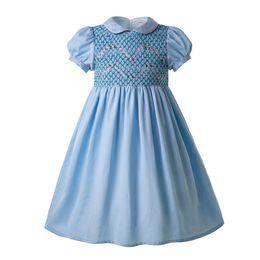 a61829b68fd Pettigirl Blue Doll Collar Smocked Trajes Smocked Niños Ropa de diseñador  Chica para bebés Boutique Vestido de volantes G-DMGD109-C96