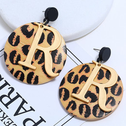 Discount gold pendants leopard - BONLAVIE New Leopard Print Hollow Gold Letter Pendant Earrings Geometric High-grade Wooden Disc Fashion Women Party Jewe