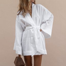 women white linen dresses NZ - Women's V-Neck Kimono Cardigan Mini Dress White Cotton Linen Long Sleeve Sashes Lace Up Dresses Women 2019 Autumn Loose Vestidos SH190901