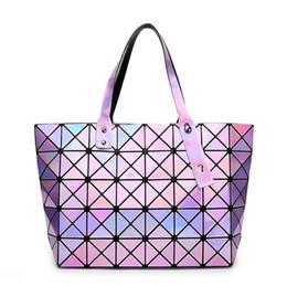 Deep Tote Bag Australia - good quality Hot Sale Laser Female Fashion Handbags Women Dazzle Color Plaid Tote Casual Bags Sequins Mirror Saser Madam Beach Bag