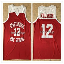 b4c1e002446e  12 Zion Willamson Spartanburg Griffins day school BASKETBALL JERSEY Sewn  sewing custom any name and number XS-6XL vest Jerseys Ncaa