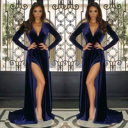 royal blue prom pregnant dresses NZ - Vintage Royal Blue Long Sleeves Evening Dresses Split Sheath V Neck Maternity Dress Baby Shower Party Gowns Pregnant Prom Dresses Sexy 2020
