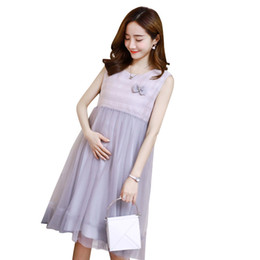China Pengpious 2019 Summer Pregnant Women Sleeveless Gauze Tank Dress Lace Bowknot Plus Size Knee-length Maternity Dress Back Button suppliers