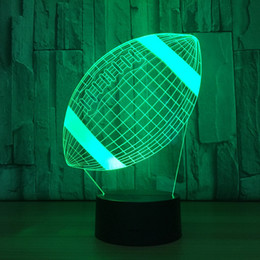 $enCountryForm.capitalKeyWord Australia - American Football Acrylic 3D Night Light Rugby Model LED 7 Colors Changing Bedroom Bedside Night light Baby For Kid's Gift Table Lamp