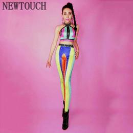 Female singers costumes online shopping - Sexy Clothing Female Singer Rhinestone Rainbow Print Long Split Adult Dance Stage Fashion Sexy Big Stretch Dance Costume NEW