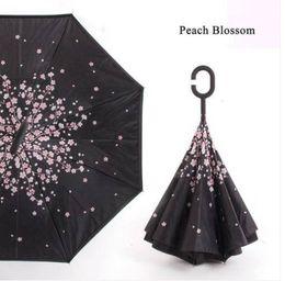 Опт Бесплатная доставка оптовые продажи перевернутый зонтик ветрозащитный обратный / женщины УФ-защита вверх ногами c ручкой