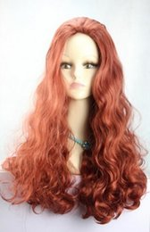Red anime haiR wig online shopping - WIG AZ19 Lolita Red Brown Gradient Fashion Long Curly Cosplay Anime Hair Full Wigs