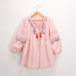 EmbroidEry dEsigns flowEr girl online shopping - Girl Kids Clothing Dress Flower Embroidery Design Round Collar tassel Dress girl Spring Fall Dress